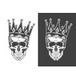 vintage monochrome skull with crown isolated vector image