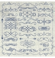 Vintage Pen Drawing Swirls Collection on Crumpled vector image