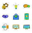 web icons set cartoon style vector image vector image