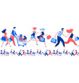 women men crowd running purchase buy paper bags vector image
