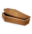 wood coffin with christian cross vector image vector image