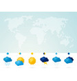 world map with weather icon light background vector image
