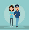 young couple cartoon vector image