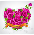 Greeting card Happy Valentines Day with roses vector image