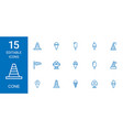15 cone icons vector image vector image