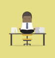african businessman meditation in office vector image