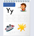 alphabet tracing worksheet with letter y and y vector image vector image