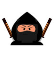 angry ninja on white background vector image