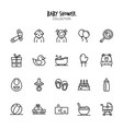 baby shower icon set collection vector image vector image