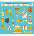 birthday party flat icons vector image