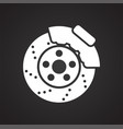 car brake disc icon on black background for vector image