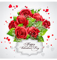 card for valentines day heart red roses vector image vector image