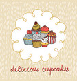 card with various cupcakes on a beige background vector image vector image