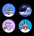 christmas new year round signs set with cute vector image vector image