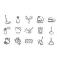 cleaning service linear icons set vector image