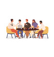creative business team sitting at table and vector image