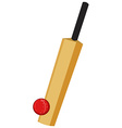 Cricket equipment with bat and ball vector image vector image