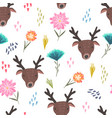 cute cartoon pattern with deers dots and flowers vector image