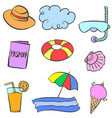doodle summer theme with object vector image vector image