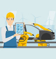 engineer with a digital tablet vector image