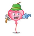 fishing ballon heart mascot cartoon vector image