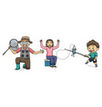 fishing with mom dad and son character vector image
