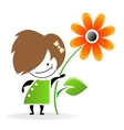 Girl With Flower Eps vector image vector image
