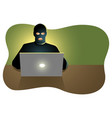 hacker behind laptop computer vector image vector image