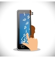 hand touch phone note fiddle mobile music vector image