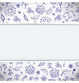 Hands drawn sketchy floral doodles background vector image