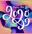happy new year 2020 text on a color background vector image vector image