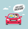 joyful businesswoman traveling by car vector image