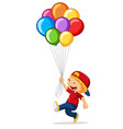 little boy holding colorful balloons vector image vector image