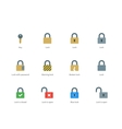 Lock and key color icons on white background