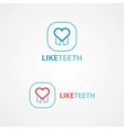 Logo combination of a tooth and heart vector image