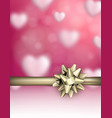 love valentine s background with golden bow vector image vector image