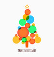 minimalistic merry christmas tree made circles vector image vector image