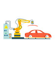 modern conveyor for assembly of cars vector image vector image