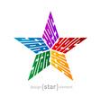 original colorful star made words design vector image