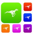 ornithopod dinosaur set color collection vector image vector image