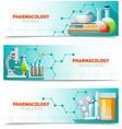Pharmacology 3 Horizontal Banners Set vector image vector image