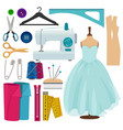 pictures sewing tools isolate on white vector image vector image