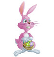 pink easter bunny with eggs vector image