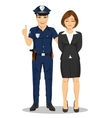 Policeman arresting businesswoman vector image vector image