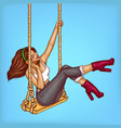 pop art girl on swing with headphones vector image vector image