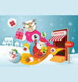 santa claus friends and gifts popping out from vector image vector image