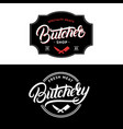 set of butcher shop and butchery lettering logo vector image vector image