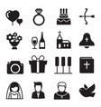 silhouette icons wedding bride and groom love vector image vector image