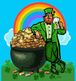 st patricks day poster cartoon leprechaun holding vector image