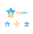 star and flask logo combination unique vector image vector image